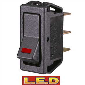 SWITCH SM RECT ROCK W LED RED