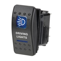 12 Volt Illuminated Off/On Sealed Rocker Switch with 'Driving Lights' Symbol (Blue)