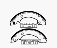 BRAKE SHOES - HYUNDAI EXCEL S COUPE 90-