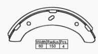 BRAKE SHOE REAR - MITSUBISHI CANTER 1985-   300 x 60mm